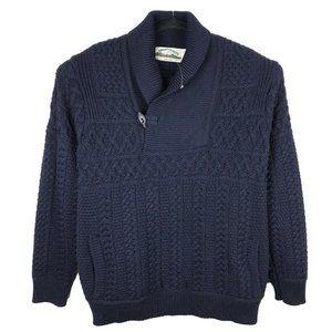 NWOT Aran Crafts Ireland Navy Merino Shawl Sweater